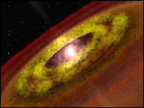 Dust disc around young star, Caltech