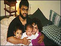 Moazzam and his three children, photo courtesy of Azmat Begg