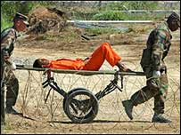Detainee arrives at in Cuba on a stretcher
