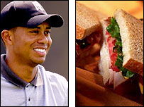 Tiger Woods and a sandwich