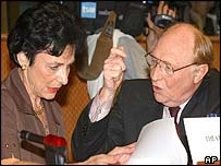 Diemut Theato (EU budgetary control chairman) and Neil Kinnock