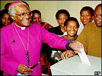 Desmond Tutu votes in South Africa's 1994 elections