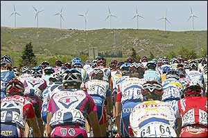 The peloton gets underway at the start of stage 11