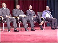 (L-R) Arthur Zahidi Ngoma, Jean-Pierre Bemba, Azarias Ruberwa & Abdoulaye Yerodia