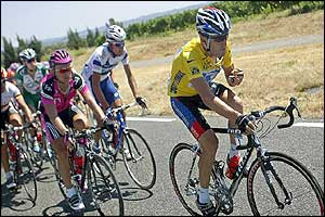 Lance Armstrong heads the peloton