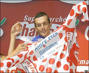 Frenchman Richard Virenque dons the polka dot jersey