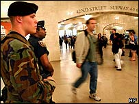 Police and National Guard on Guard at New York Central Terminal after terror alert