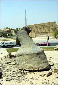 The only remains of a Saddam Hussein statue on Palestine Road