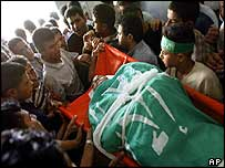 Gaza City funeral on Wednesday of Palestinian killed in Israeli air strike