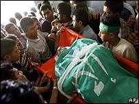 Gaza City funeral on Wednesday of Palestinian killed in Israeli air strike