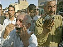 Mourners at funeral of Ayatollah Mohammed Baqr al-Hakim