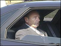 Jacques Chirac arriving at the funeral