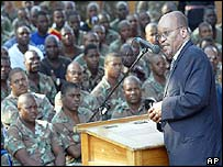 South African deputy President Jacob Zuma addressing South African peacekeepers