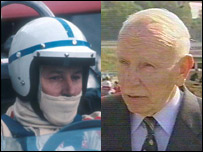 John Surtees in his racing heyday and now