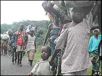 Displaced people flee Totota in central Liberia