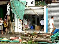 shop is seen damaged by heavy winds in Fuzhou, capital of east China's Fujian province