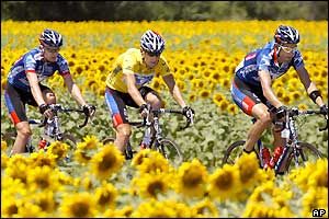 Leader Lance Armstrong and his US Postal team-mates in the French countryside
