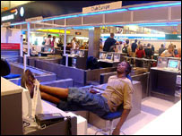 Stranded passengers in Terminal One