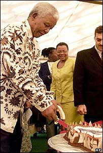 Nelson Mandela cuts his birthday cake on Friday