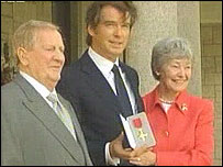 Pierce Brosnan, his mother and step father at the British Embassy in Dublin