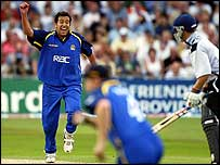 James Ormond takes a wicket