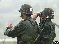 South Korean soldiers near DMZ with North Korea