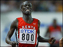 Kenya's Ezeliel  Kemboi finishes second in the 3,000m steeplechase