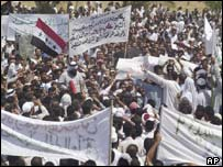 Sunni Muslim protest against the new Iraq governing council