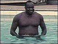 Idi Amin in a swimming pool