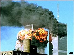 Explosion as plane hits south tower of World Trade Center
