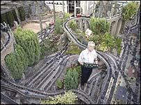 Gordon Archer with his beloved railway
