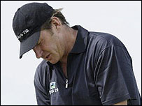 Nick Faldo reflects on a costly missed putt on the 10th green