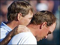 Davis Love (left) consoles Thomas Bjorn