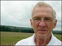 Volunteer ambassador Don Landis at the crash site