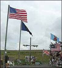 Flags at the crash site