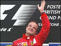 Rubens Barrichello celebrates his victory in Sunday's British Grand Prix