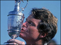 Tom Watson kisses the Claret Jug after his fourth Open victory in 1982