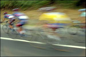 Riders on the 15th stage of the Tour de France