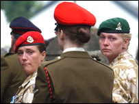 Servicewoman in tears at the funeral of Dewi Pritchard