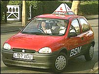 A driving school car