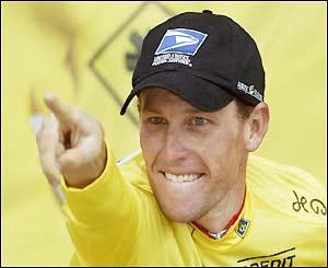 Armstrong celebrates on the podium