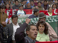 Manifestación en Bolivia
