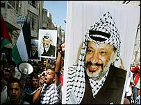 Supporters carry a Yasser Arafat poster