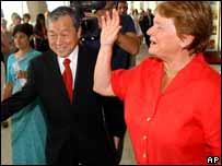 Jong-wook Lee y Gro Harlem Burndtland