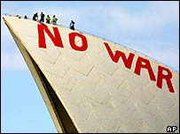 An anti-war protest at the Sydney opera house