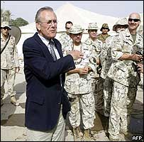 US Defence Secretary Donald Rumsfeld in Iraq