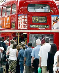 Bus queue in London