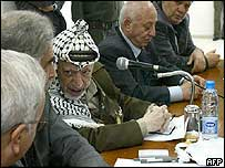 Yasser Arafat (centre) with Palestinian Legislative Council members