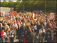 Protesters outside Dungavel