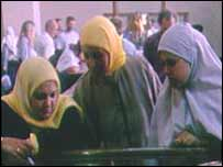 Egyptian women wearing Muslim veils